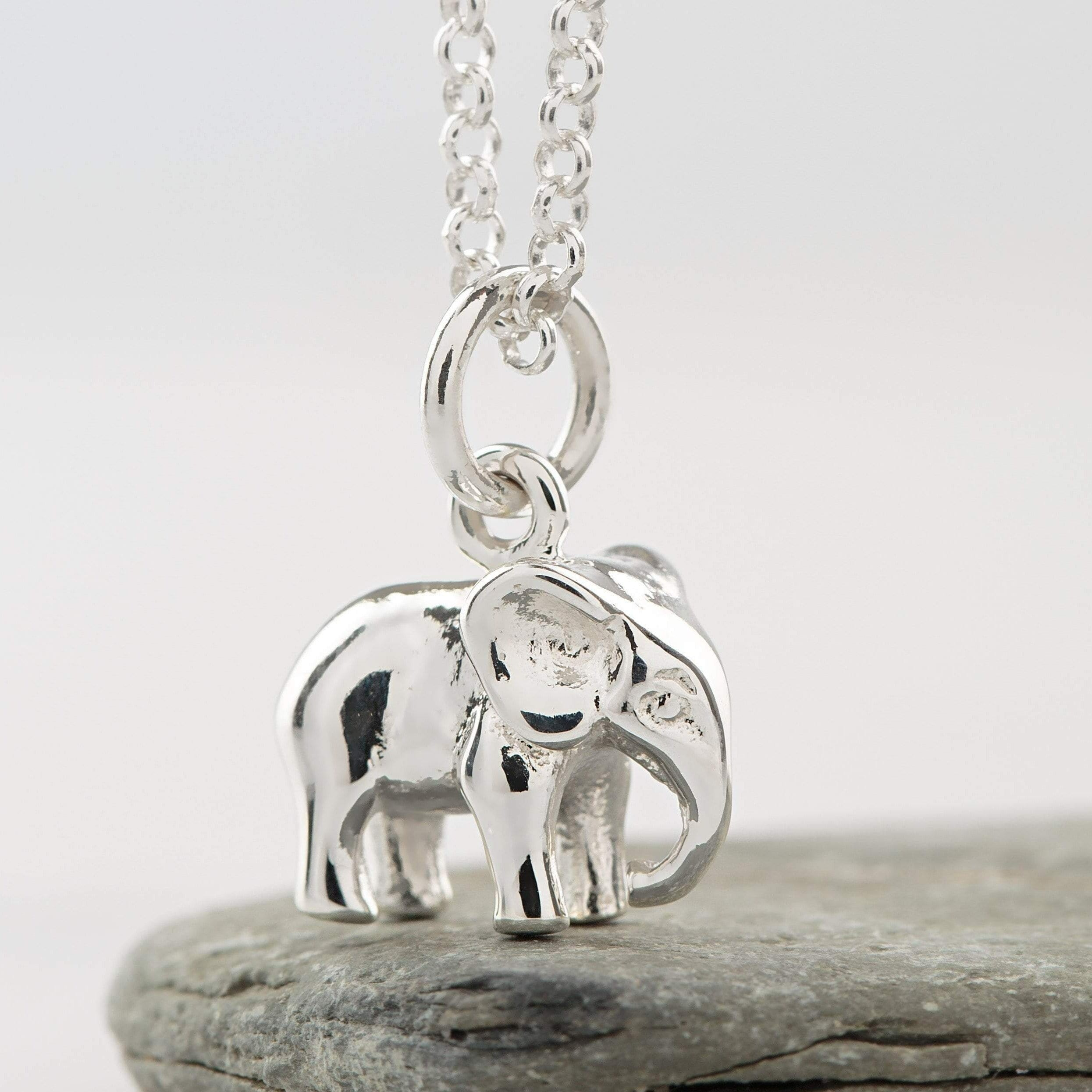 Personalised Silver Elephant Necklace - Lily Charmed