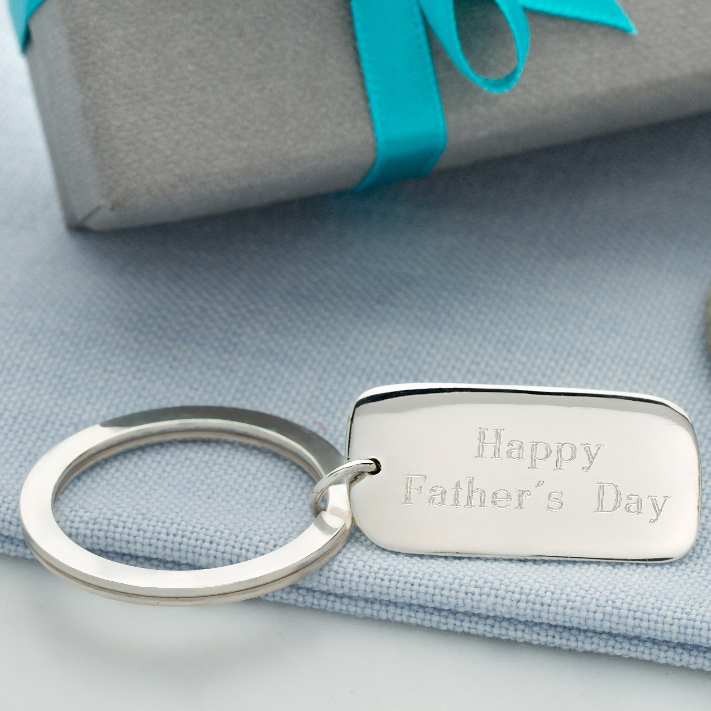 Engraved Silver Tag Key Ring - Lily Charmed