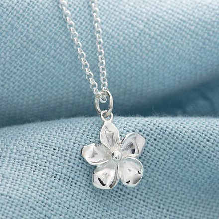 Children's Personalised Silver Flower Necklace - Lily Charmed