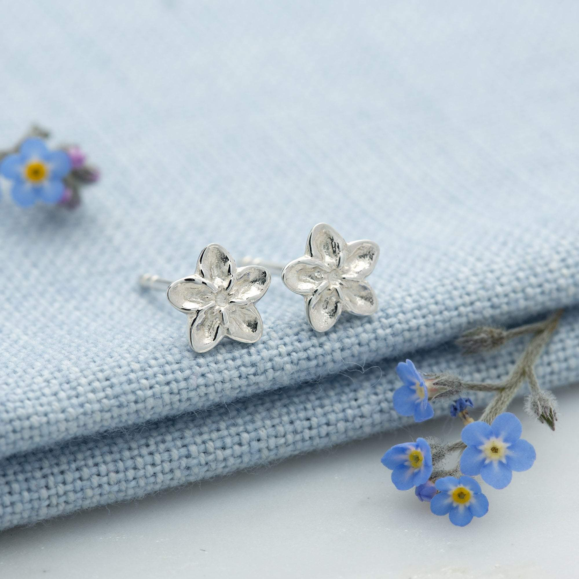 Silver Forget Me Not Stud Earrings - Lily Charmed