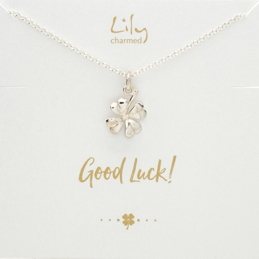 Silver Four Leaf Clover Necklace with 'Good Luck' Message - Lily Charmed