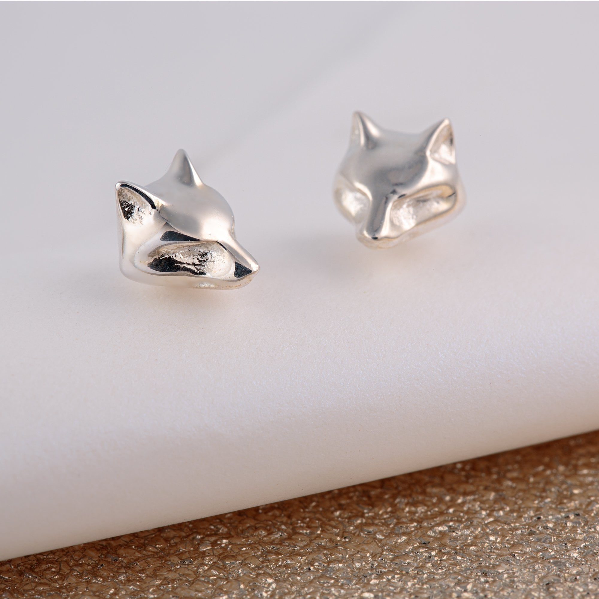 Silver Fox Stud Earrings - Lily Charmed