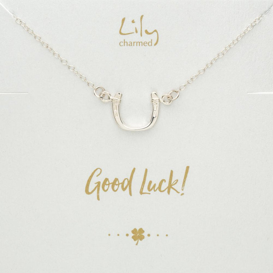 Silver Horseshoe Necklace with 'Good Luck' Message