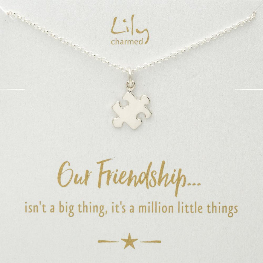 Silver Jigsaw Necklace with 'Friendship' Message