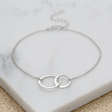 Personalised Silver Linked Circles Bracelet