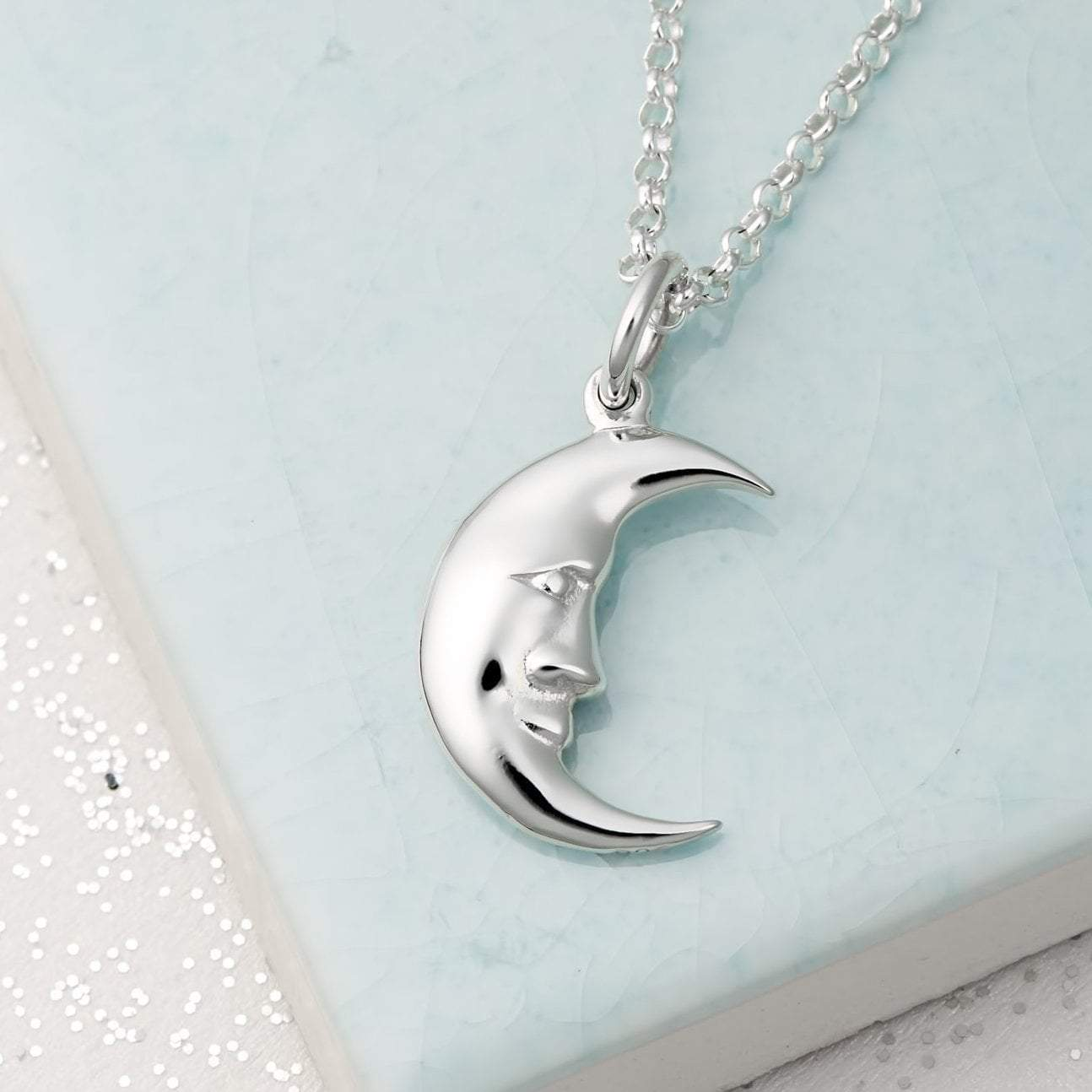 Personalised Silver Moon Necklace - Lily Charmed