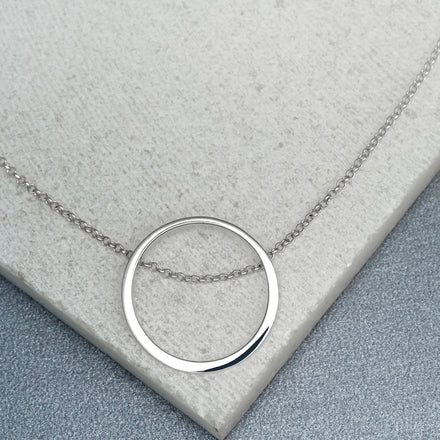 Personalised Silver Open Circle Necklace
