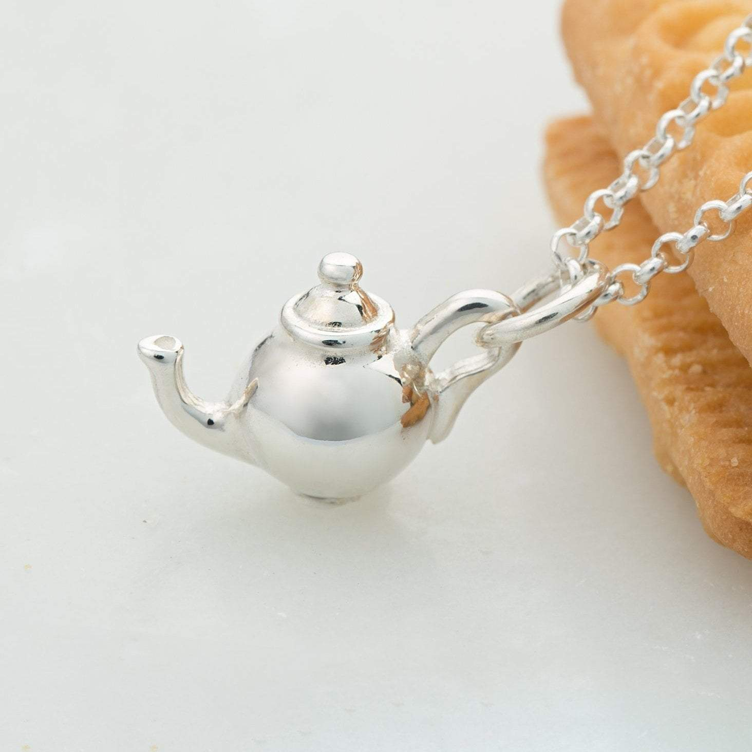 Lily Charmed Silver Teapot Necklace