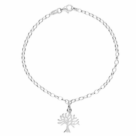 Personalised Silver Tree Charm Bracelet