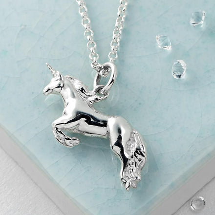 Children's Personalised Silver Unicorn Necklace - Lily Charmed