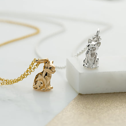 Personalised Gold Plated Cat Necklace - Lily Charmed
