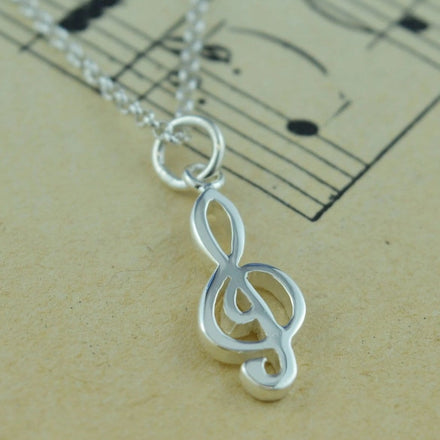 Personalised Silver Treble Clef Necklace - Lily Charmed