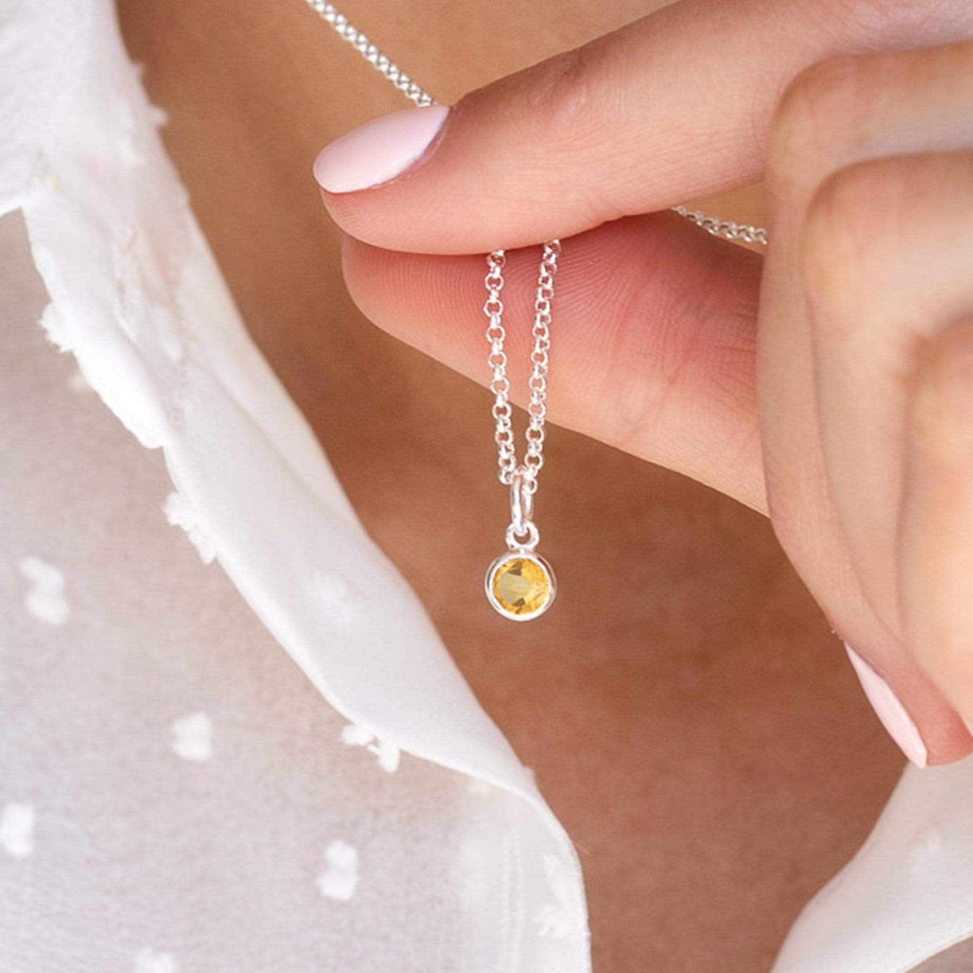 Personalised November Birthstone Necklace (Citrine) - Lily Charmed
