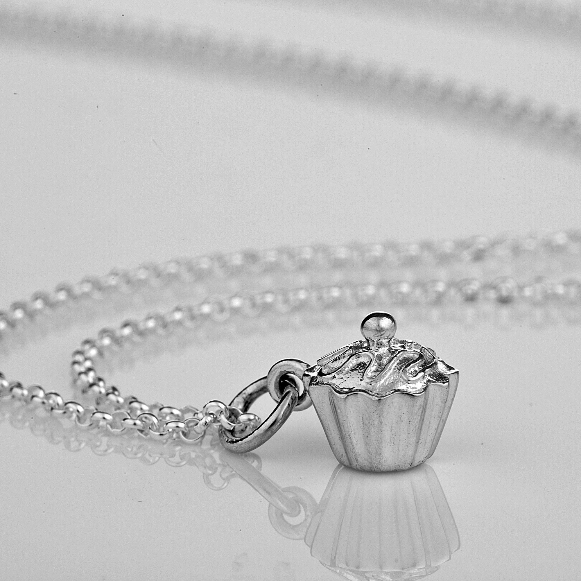 Silver Cupcake Necklace with 'Birthday' Message - Lily Charmed