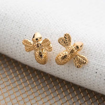 Gold Plated Bee Stud Earrings - Lily Charmed
