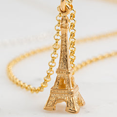 Personalised Gold Plated Eiffel Tower Necklace - Lily Charmed