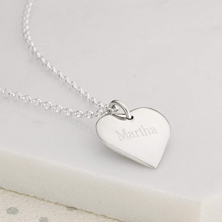 Children's Engraved Silver Heart Necklace (Medium) - Lily Charmed
