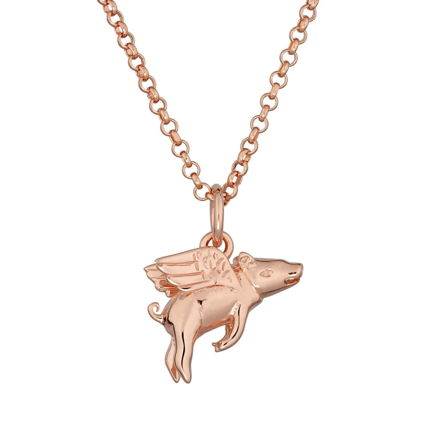 Limited Edition Personalised Rose Gold Plated Flying Pig Necklace - Lily Charmed