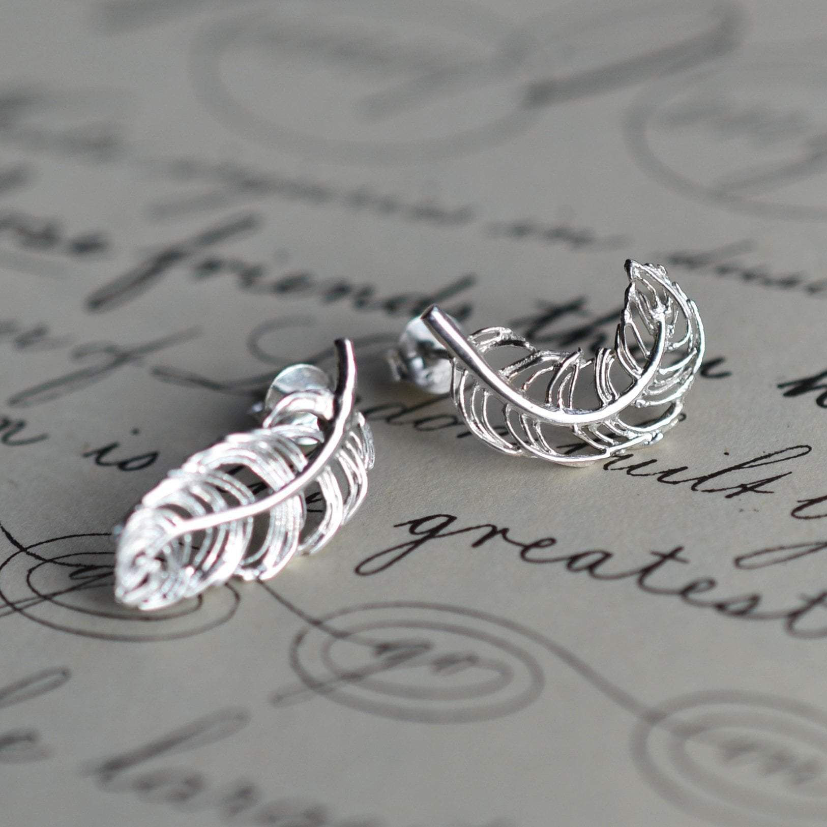 Silver Feather Stud Earrings with 'Feathers Appear' Message