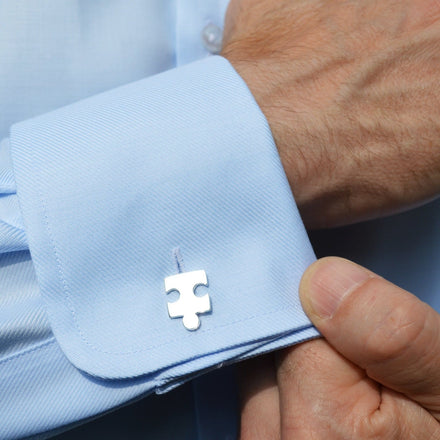 Engraved Silver Jigsaw Cufflinks