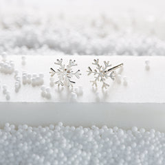 "Silver Snowflake Stud Earrings with ""Unique"" Message"