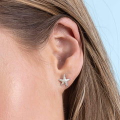 Silver Starfish Stud Earrings