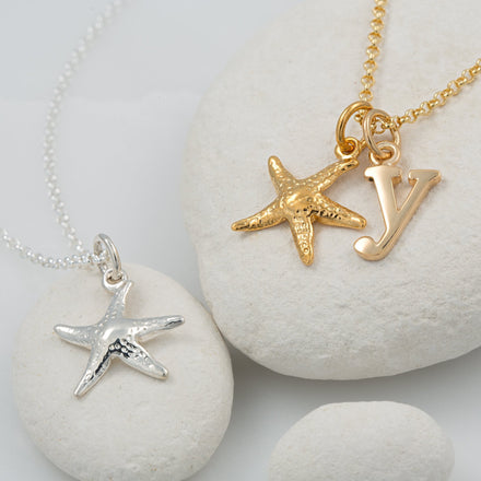 Personalised Gold Plated Starfish Necklace - Lily Charmed