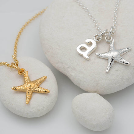 Personalised Silver Starfish Necklace - Lily Charmed