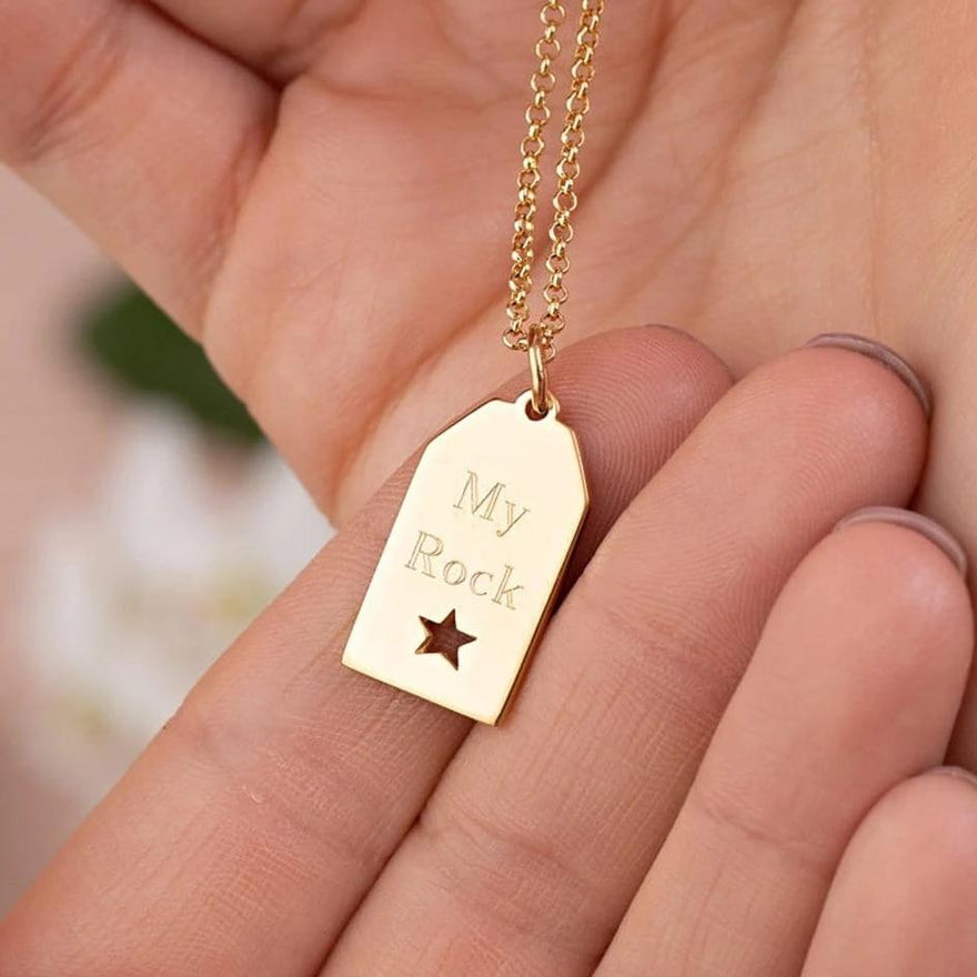 Engraved Gold Plated Star Tag Necklace - Lily Charmed