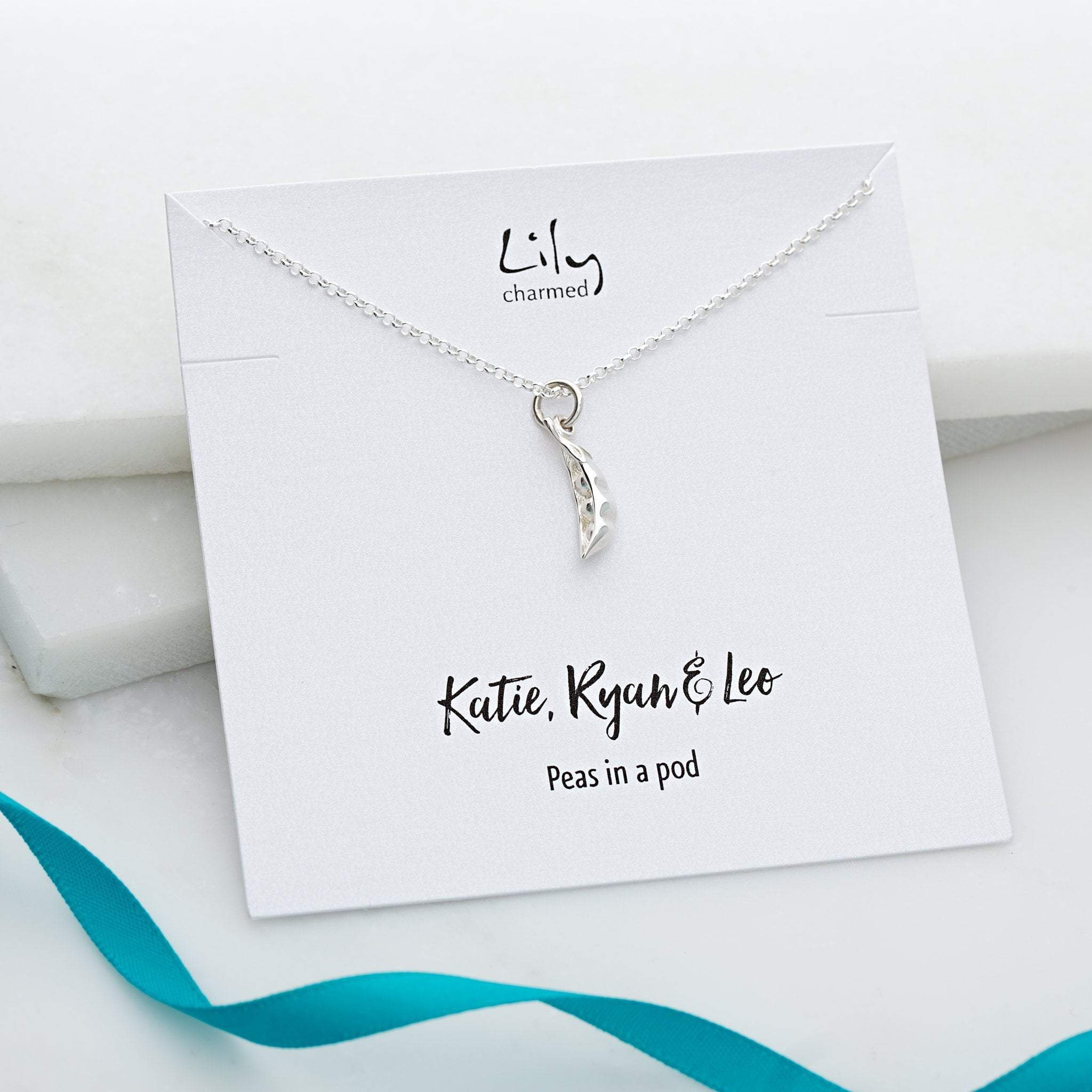 Personalised Silver Peapod Necklace - Lily Charmed