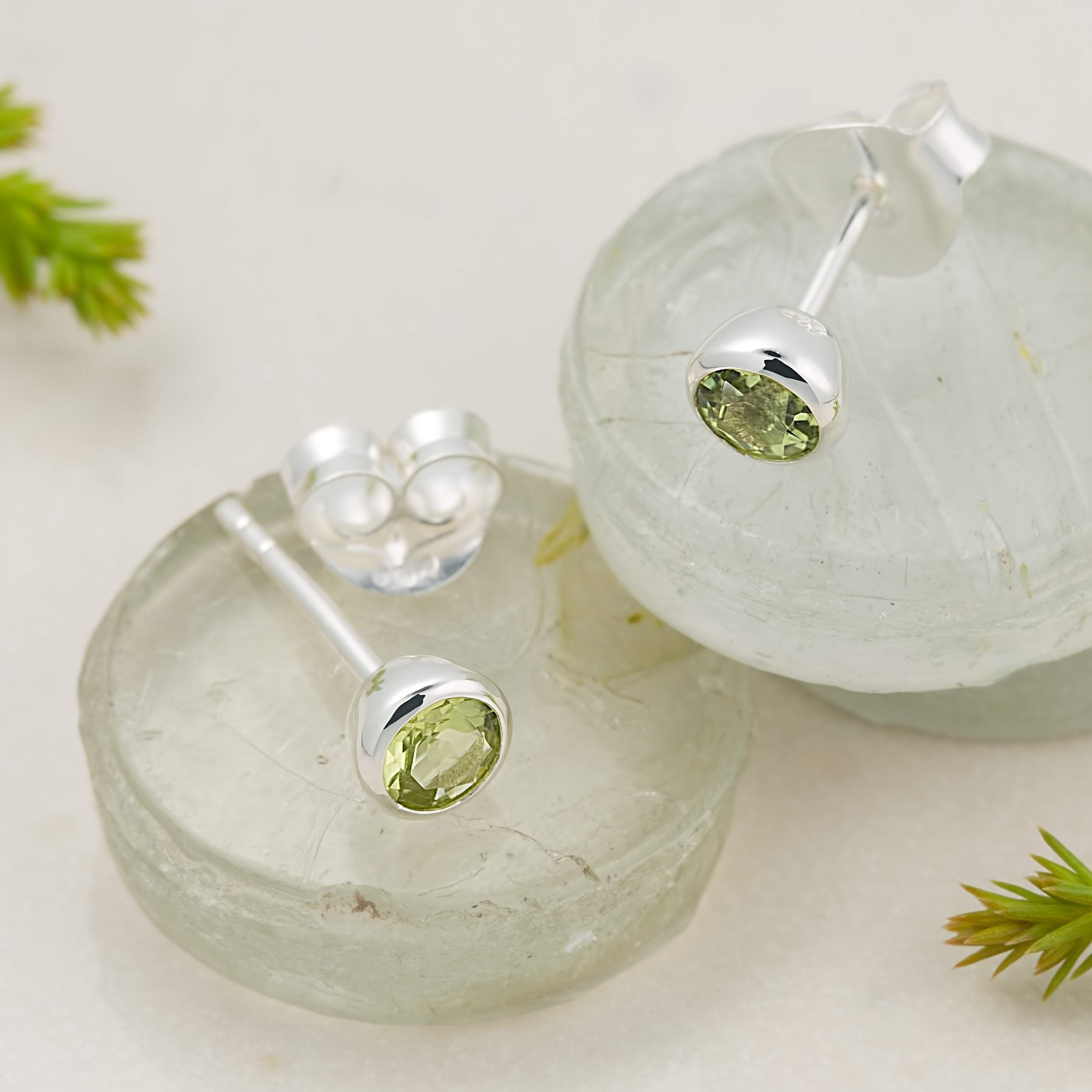 August Birthstone Earrings (Peridot) - Lily Charmed