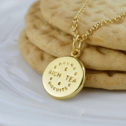 Personalised Gold Plated Rich Tea Necklace - Lily Charmed