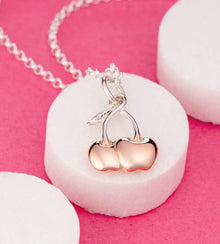 Personalised Silver Cherry Necklace - Lily Charmed