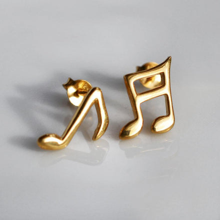 Gold Plated Music Note Stud Earrings - Lily Charmed