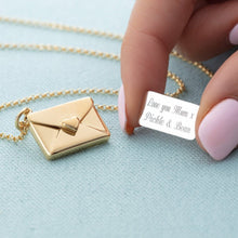 Gold Plated Envelope Necklace with Engraved Insert
