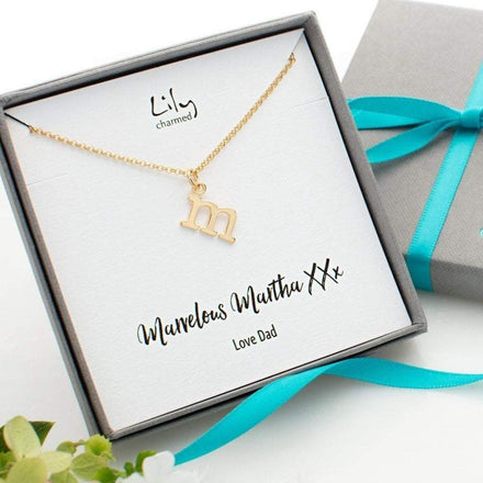 Personalised Gold Plated Initial Charm Necklace - Lily Charmed