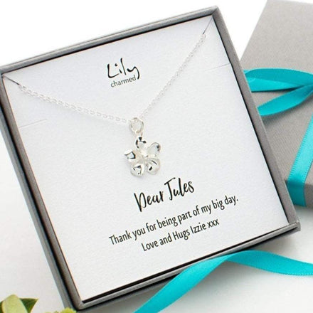 Personalised Silver Flower Necklace - Lily Charmed