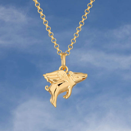 Personalised Gold Plated Flying Pig Necklace - Lily Charmed
