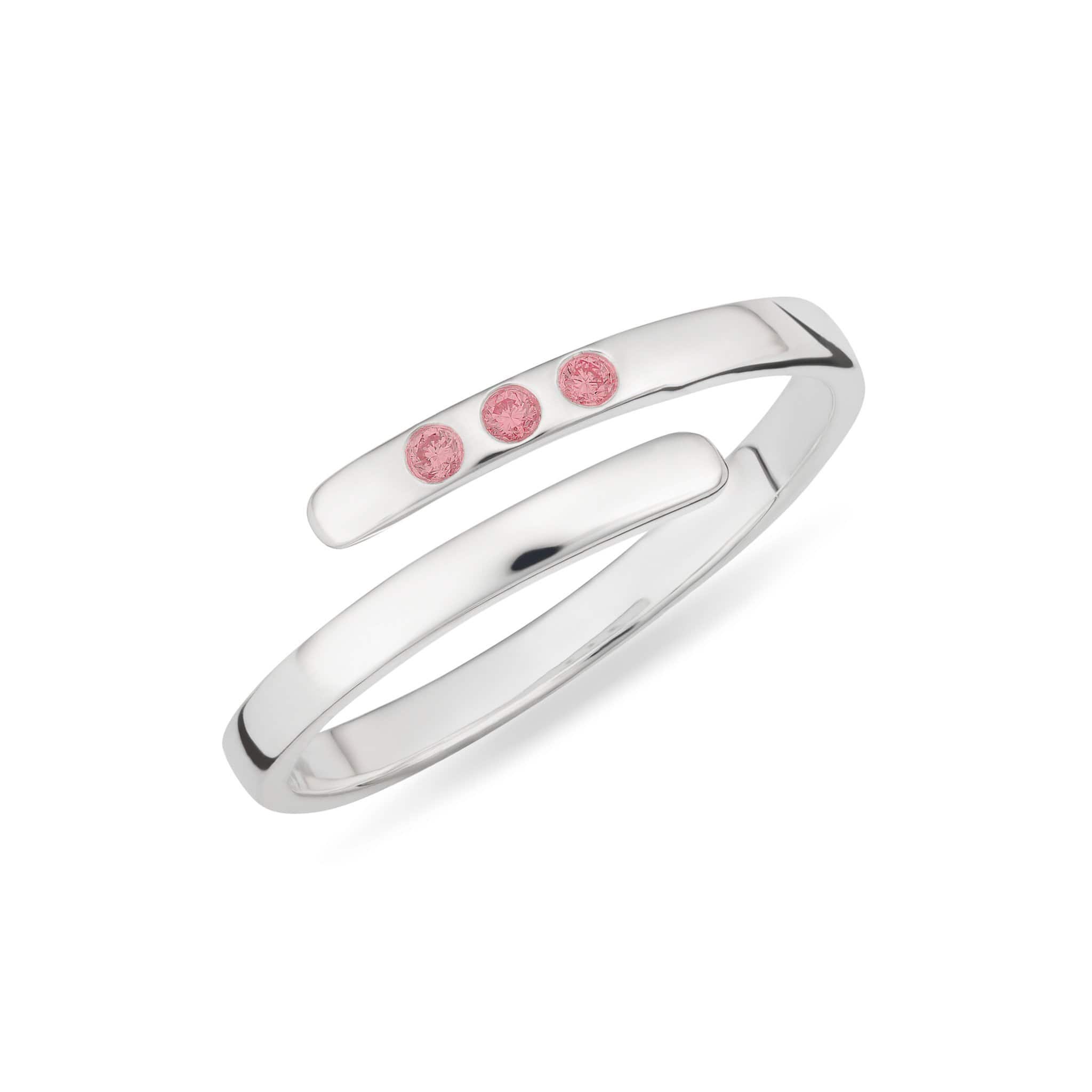 October Birthstone Open Ring, Pink Tourmaline - Lily Charmed