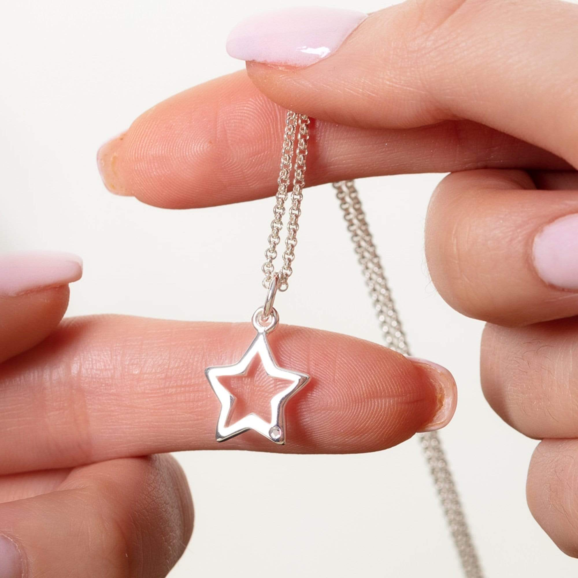 Personalised Silver and Diamond Open Star Necklace - Lily Charmed
