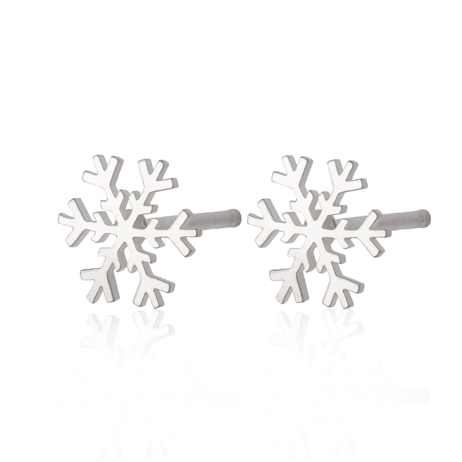 Silver Snowflake Stud Earrings - Lily Charmed