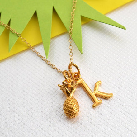 Personalised Gold Plated Pineapple Necklace - Lily Charmed