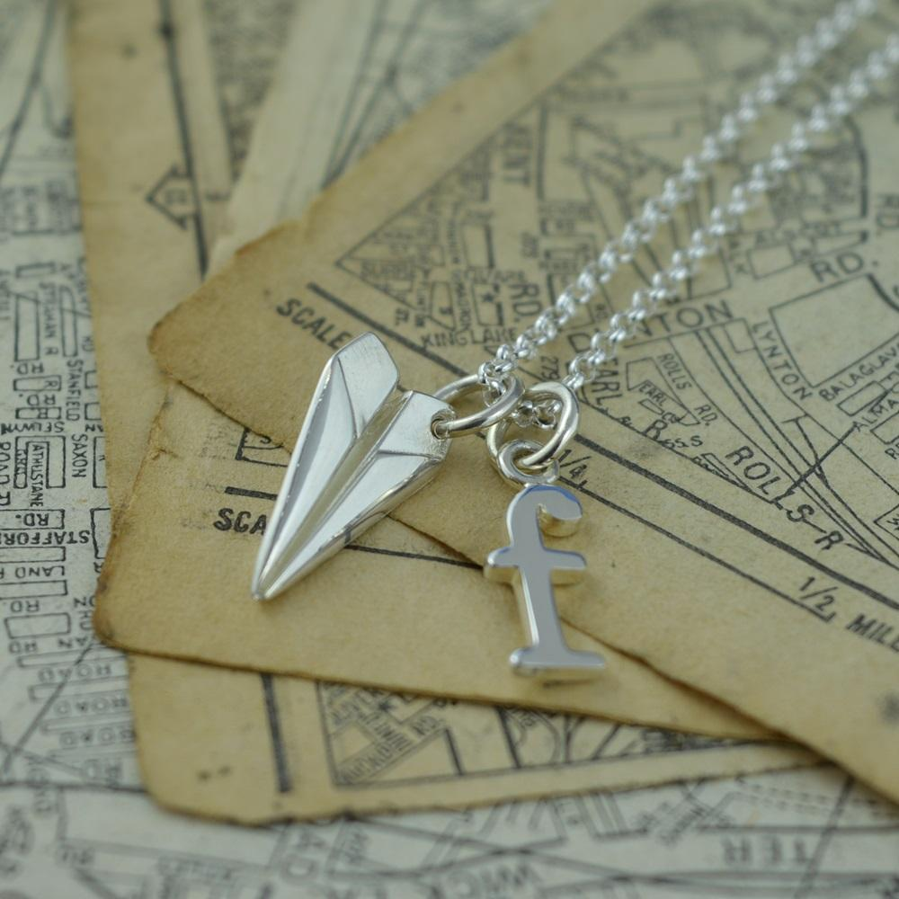 Personalised Silver Paper Plane Necklace - Lily Charmed