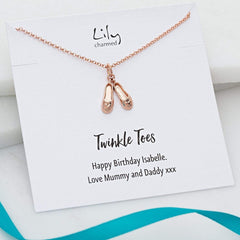Personalised Rose Gold Plated Ballet Shoes Necklace - Lily Charmed