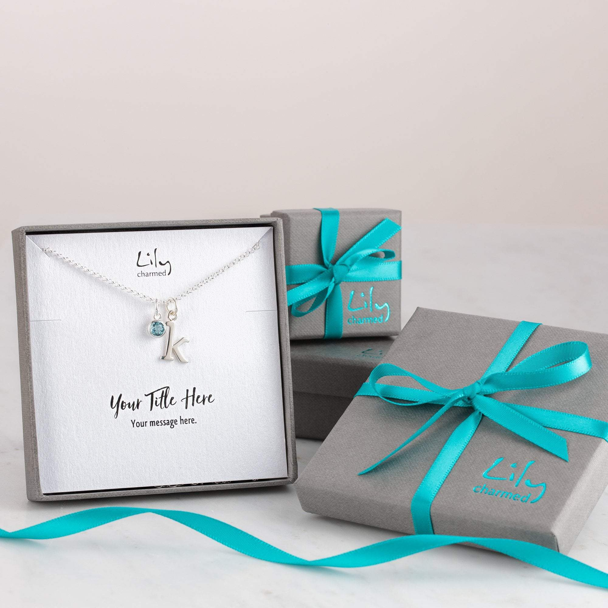 Children's Personalised Silver Initial Charm Necklace - Lily Charmed