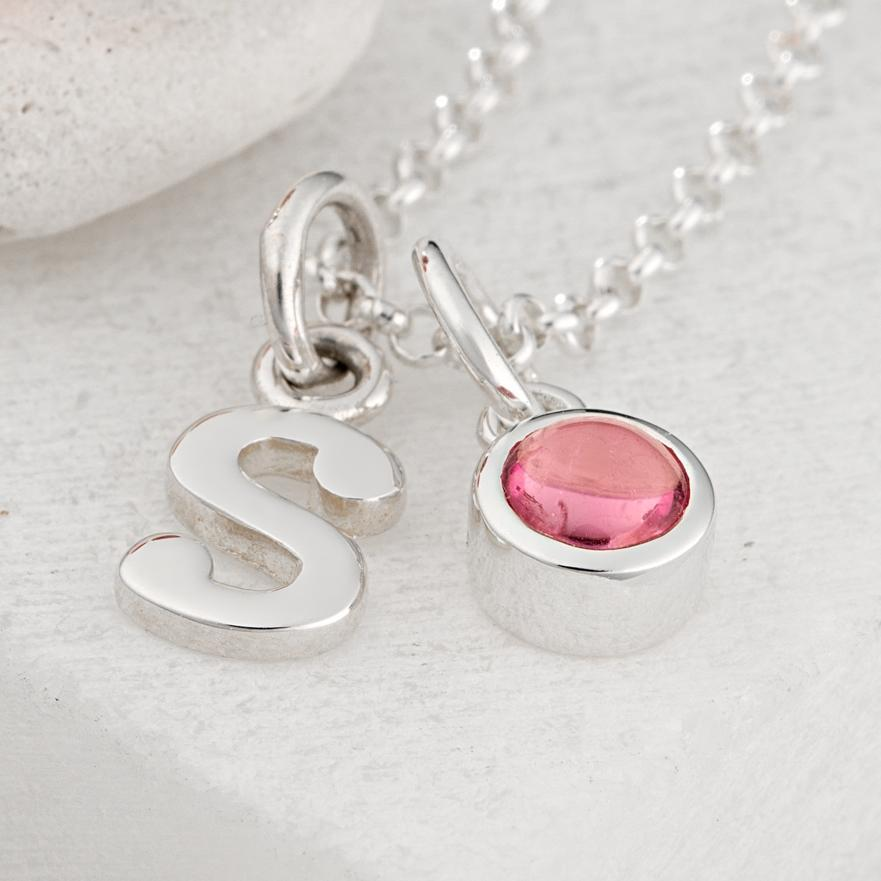 Personalised October Birthstone Necklace (Pink Tourmaline) - Lily Charmed