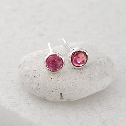 October Birthstone Earrings (Pink Tourmaline) - Lily Charmed