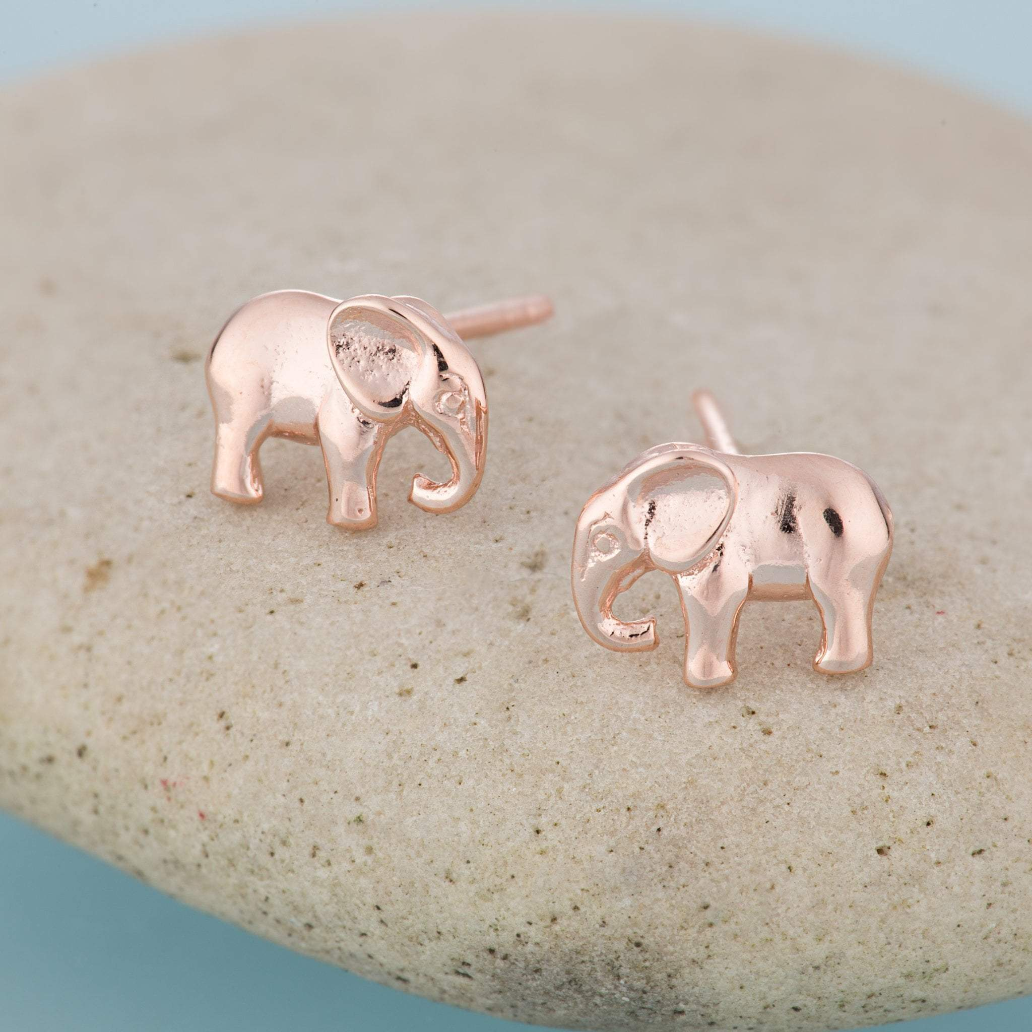 Rose Gold Plated Elephant Stud Earrings - Lily Charmed