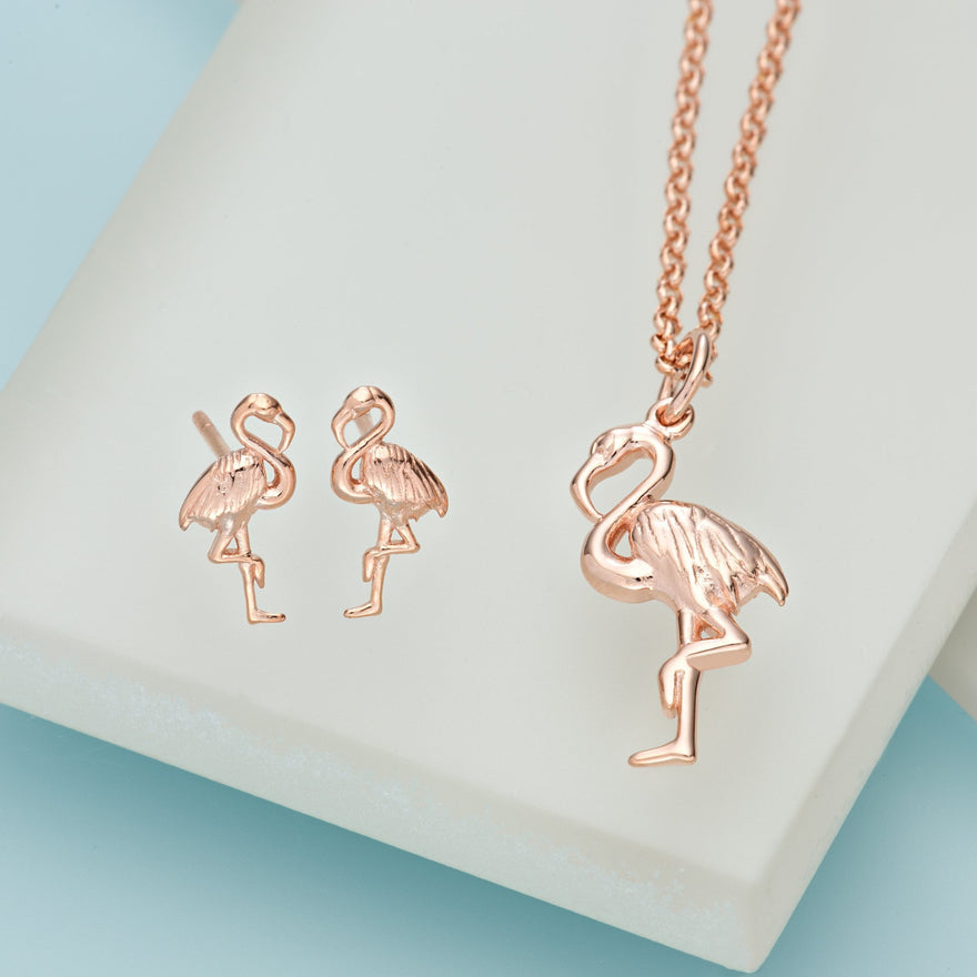 Rose Gold Plated Flamingo Jewellery Set With Stud Earrings