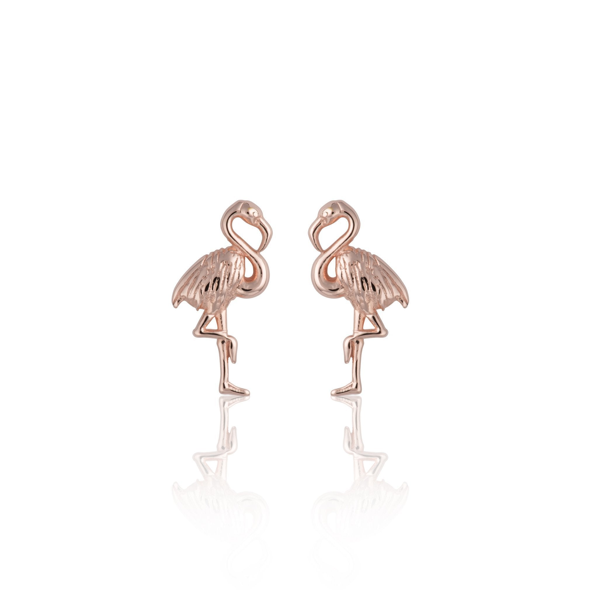Rose Gold Plated Flamingo Stud Earrings